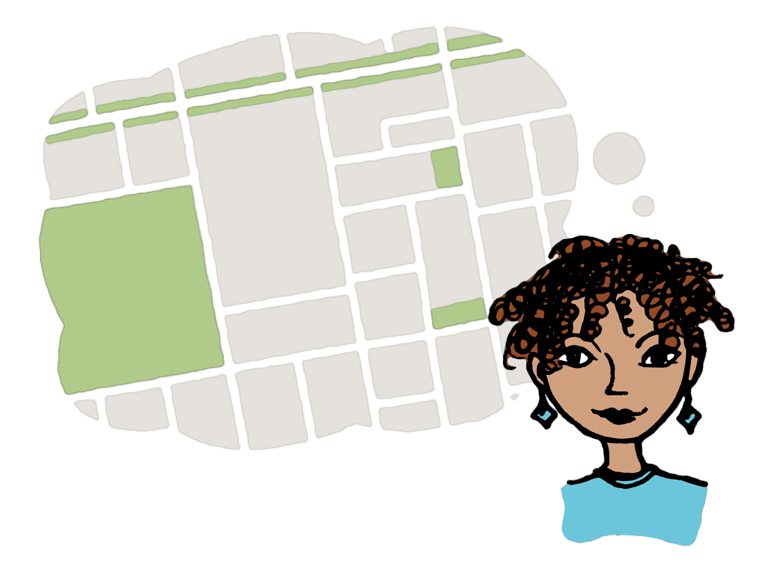 illustration of woman envisioning a map