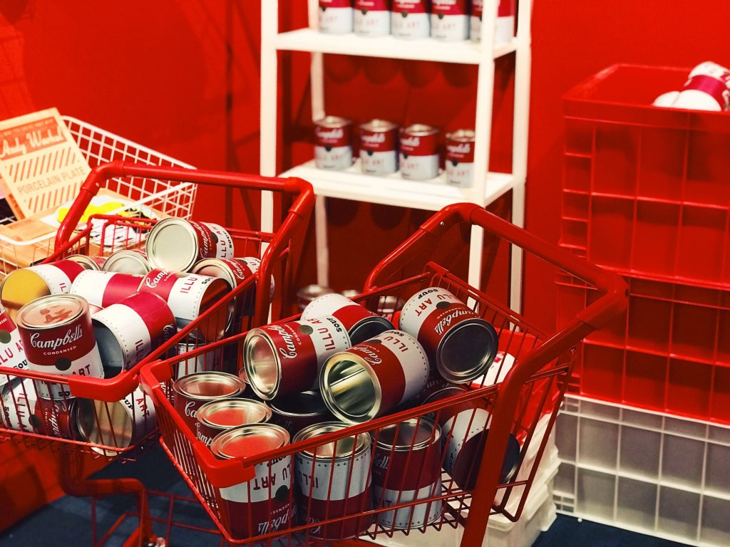 shopping carts of canned food at food pantry